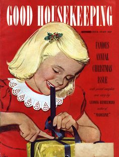 Girl Wrapping Present. Good Housekeeping Magazine, December 1949 (Alex Ross)