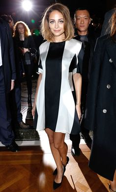 Nicole Richie embraced the black and white trend in Stella McCartney at the designer's Paris Fashion Week show.