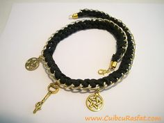 Handmade necklace black and gold