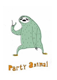 Party sloth A4 print by lukaluka on Etsy, $10.00