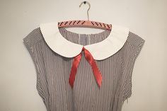 Peter Pan Collar Tutorial, instructions, DIY, craft,  sew,  fabric,  fashion,  project, Up-cycle, restyle, collar, pattern, gift idea.