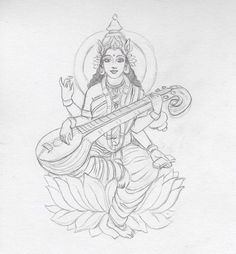 Saraswati Maa is one among the trinity (Tridevi) of Saraswati, Lakshmi, and Parvati.to know about to draw Goddess Saraswati Maa pencil drawing step by step. Girl Drawing Sketches, Art Drawings Sketches Simple, Sketch Painting, Easy Drawings, Worli Painting, Coffee Painting, Saraswati Painting, Tanjore Painting, Kalamkari Painting