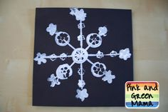 Pink and Green Mama: * Winter Craft: Snowflake Printmaking Project Using Found Objects