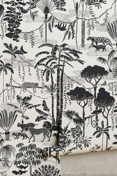 Jungle Dream Wallpaper by Aimee Wilder in Black, Wall Decor at Anthropologie Unique Wallpaper, Print Wallpaper, Pattern Wallpaper, Wallpaper Ideas, Wallpaper Jungle, Hallway Wallpaper, Tiger Wallpaper, Artistic Wallpaper, Wallpaper Decor