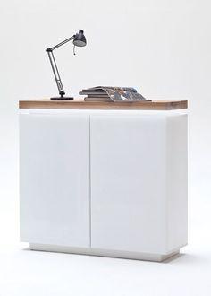 Kommode Romina mit LED Licht dimmbar Weiß Matt mit Eiche Massiv 8207. Buy now at https://www.moebel-wohnbar.de/kommode-romina-mit-led-licht-dimmbar-weiss-matt-mit-eiche-massiv-8207
