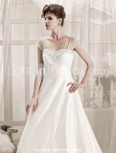 A-line Straps Sweep/ Brush Train Organza Wedding Dress