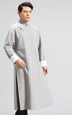 acd25861ea057 Chinese Traditional Dress Men Mandarin Collar Long Robes Plus Size Chinese  Traditional Clothing Linen Trench Coats Long Man Robe