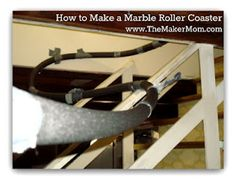 How to make a marble roller coaster using foam tubing. Kinetic and potential energy experiment. Science Fair, Teaching Science, Science For Kids, Science Experiments, Roller Coaster Theme, Roller Coasters, School Projects, Projects For Kids, Kinetic And Potential Energy