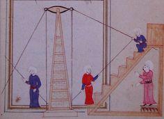 Parallactic instrument of Taqī al-Dīn. Source: Al-Ālāt al-rasadiya li-zīj al-shāhinshāhiyya, Library of the Topkapi Palace Museum, Hazine fol. 16th Century, Islamic Art, Occult, Vintage Images, Drawing S, Inventions, Medieval, Museum, African