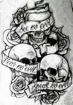 See no evil, Hear no evil, Speak no evil skull tattoo design . - See no evil, Hear no evil, Speak no evil skull tattoo design More You are in the right place abo - Evil Skull Tattoo, Evil Tattoos, Skull Tattoo Design, Skull Design, Tatoos, Girly Skull Tattoos, Rosary Tattoos, Bracelet Tattoos, Demon Tattoo