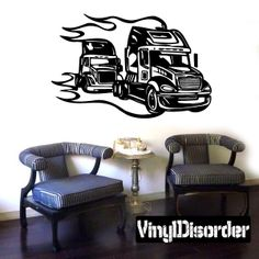 Semi Truck Wall Decal - Vinyl Decal - Car Decal - DC 104