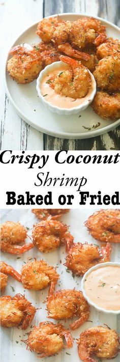 shrimp recipes Crispy Coconut Shrimp- Fresh Shrimp dipped in coconut batter , then rolled in an aromatic combination of coconut flakes, breadcrumbs and spices . So Decadent, So Exotic , So Tasty ! Baked or Fried shrimp recipes Baked Coconut Shrimp, Coconut Shrimp Recipes, Fish Recipes, Seafood Recipes, Appetizer Recipes, Shrimp Appetizers, Coconut Shrimp Dipping Sauce, Fried Shrimp Recipes, Cooked Shrimp
