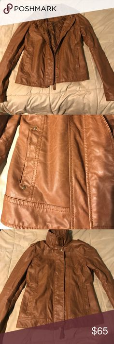 chestnut vegan leather jacket Chestnut jacket made from vegan (faux) leather from aeropostale been worn many times but is in excellent condition barely looks worn, leather is soft, has snap buttons with a zipper and collar, is a medium but fits more like a small Free People Jackets & Coats