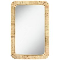 Add a coastal style to a room with this natural rattan wall mirror. Glass only section is 18 wide x 31 high. Surrounding frame is 2 wide. Non-beveled design. Style # at Lamps Plus. Coastal Style, Coastal Living, Rattan, Wicker, Video Wall, Round Corner, Ballard Designs, Wall Mirror, Bathroom Mirrors