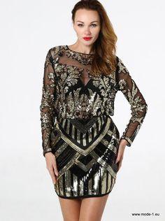 12dda407384 Damen Bluse mit Rundhalsausschnitt und transparenten Pailletten Stickereien  in Schwarz  damen  bluse  mit
