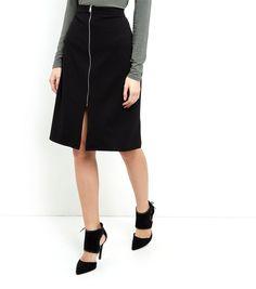 Black Scuba Zip Front Midi Skirt    New Look