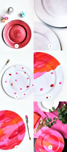 diy painted charger- I like this style of painting I can't wait to try it!