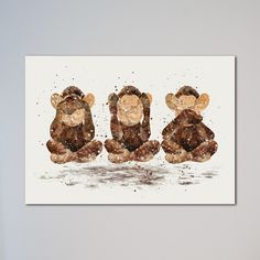 """Three Wise Monkeys see no evil, hear no evil, speak no evil Print. This is a printed art poster. Available Sizes by clicking Select Options - Select Size: from 5'' x 7'' up to 20"""" x 30"""". If you choose Canvas Upgrade option, then we will leave about 2 inches white canvas on every side for mounting on a frame. Express shipping is with UPS Express Saver Service. It takes from 2 to 3 business days to Europe and from 3 to 5 business days to USA and Canada, and up to 7 business days to the rest…"""