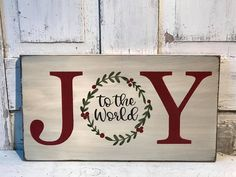 Joy To The World Primitive Wood Sign With Wreath, Christmas Wooden Signs, Christmas Wood Crafts, Holiday Signs, Primitive Christmas, Christmas Projects, Christmas Fun, Holiday Crafts, Christmas Decorations, Primitive Snowmen