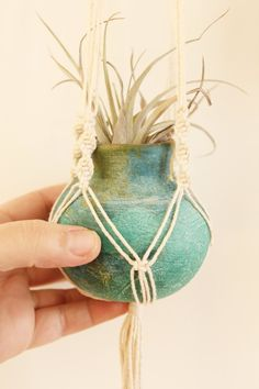 Macrame Plant Hangers with Vintage Pots by fallandFOUND on Etsy