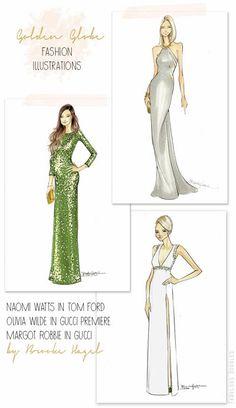 Red Carpet Fashion Illustrations | Golden Globes | Naomi Watts Olivia Wilde Margot Robbie | Gucci | Brooke Hagel