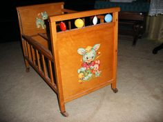 antique toys   Whitney Bros Antique Toy Wooden BABY Doll Crib 1950s
