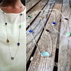 Loving this long sea glass necklace! ive been wanting to make one of these… #seaglassjewelry #seaglassdiy