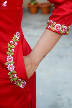 Buy Red Cotton Silk Embroidered Kurti Set by Colorauction - Online shopping for Kurti Sets in India Embroidery Suits Punjabi, Embroidery On Kurtis, Hand Embroidery Videos, Hand Work Embroidery, Embroidery Fashion, Beaded Embroidery, Indian Embroidery, Modern Embroidery, Machine Embroidery
