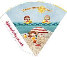 "Convites Digitais Simples: Kit Digital de Aniversário Tema ""Praia"" para Imprimir"