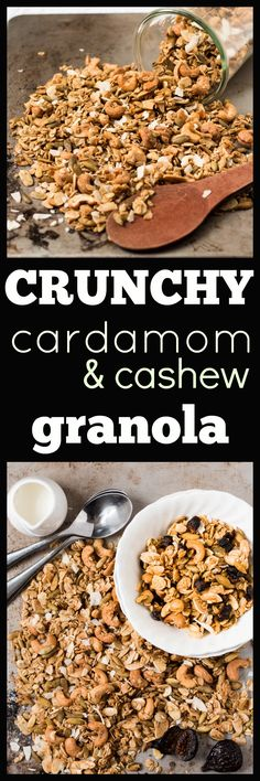 Cardamom and Cashew Granola. Slightly spicy from the cardamom, slightly sweet from the maple syrup, lots of crunchy from the nuts and seeds. via @wholefoodbellies