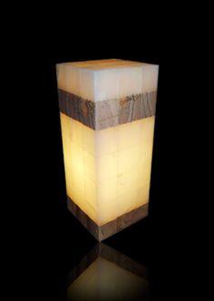 lampara rectangular de marqueteria de onix