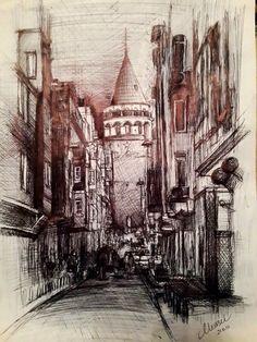 The Galata Tower. by Nursel Bozkurt, via Behance Turkey Drawing, Art Drawings, Drawing Art, Moleskine, Istanbul, Tower, Watercolor, Painting, Travel
