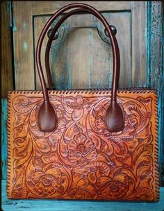 Large Juan Antonio Tooled Saddle Bag From Cow Kim Leather Purses Purse