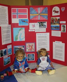 Thinking Day: Norway Booth Tri-Fold Display // dress a doll in related garb for Russia. Cosmonaut, ballerina, Snow Maiden, etc. Daisy Girl Scouts, Girl Scout Troop, Scout Leader, Crafts For Seniors, Crafts For Girls, Gs World, Brownie Badges, Snow Maiden, Girl Scout Juniors