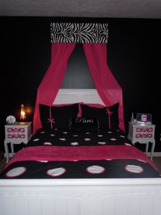 Hot Pink Bedroom Decorating Ideas   Belle's room, Hot pink and black - Tween Room, Girls' Rooms Design