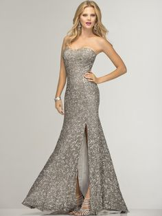 SC47526 Lead and Silver Prom Gown by Scala - Front Image