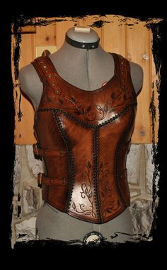 leather cuirass made with veg leather (cuir bouilli) handmade with 9-10oz leather