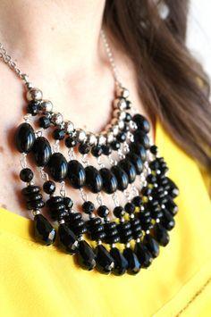 Black Statement Necklace Beaded bib necklaceBlack by art2dress
