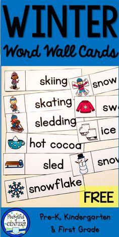 Printable Winter themed word cards for word wall or pocket chart for PreK and Kindergarten writing center.