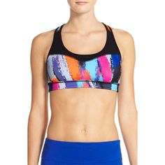Zella 'Curve' Sports Bra ($15) ❤ liked on Polyvore featuring activewear, sports bras, blue vivid nouveau print, zella activewear, yoga activewear, zella, zella sportswear and blue sports bra