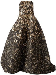 Oscar de la Renta floral brocade evening gown on shopstyle.com