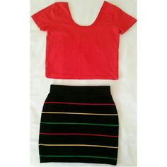 Rasta miniskirt Rasta miniskirt. Black with thin red, yellow, and green stripes. Size is medium but fits best for a small. Material is 70% acrylic, 15% polyester, and 15% spandex. Skirts Mini