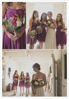 Colors for bridesmaid dresses. Plum.