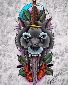 Wolf Tattoos, Animal Tattoos, Body Art Tattoos, Fish Drawings, Tattoo Drawings, Colored Tattoo Design, Buho Tattoo, Traditional Hand Tattoo, Puzzle Tattoos