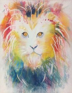 Paint flicking lion acrylic paint