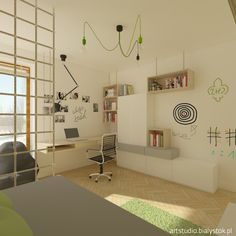 a young scout`s room whit white board   artstudio