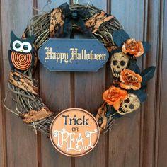 "Halloween 14"" grapevine Halloween wreath"