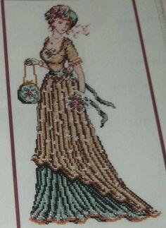 point de croix femme edwardienne - cross stitch edwardian lady