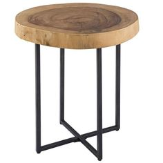 Modern furniture design meets primitive aesthetic in the beautifully realized Robin Raw Wood Table with Metal Base. This table& seat is a thick slice of circular wood that sits upon a black, stark base for a look that will delight as well as intrigue. Black End Tables, Sofa End Tables, Unique End Tables, Raw Wood, Wood Slab, Table Furniture, Living Room Furniture, Modern Furniture, Furniture Design