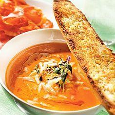 Tomatsoppa med tillbehör Munnar, Veggie Soup, Happy Foods, Vegetarian Food, Thai Red Curry, Foodies, Good Food, Veggies, Lunch